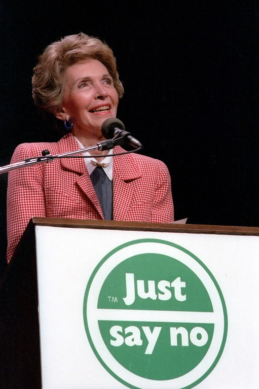 ". First Lady Nancy Reagan speaking at a ""Just Say No\"" rally at the Universal Amphitheatre in Universal City, California, 5/13/87.  Photo Credit: The Ronald Reagan Presidential Library and Museum"
