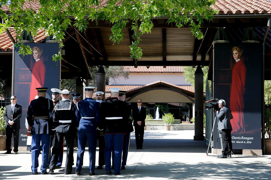 . The casket carrying Nancy Reagan arrives at the Ronald Reagan Presidential Library, Wednesday, March 9, 2016, in Simi Valley, Calif. (AP Photo/Jae C. Hong, Pool)