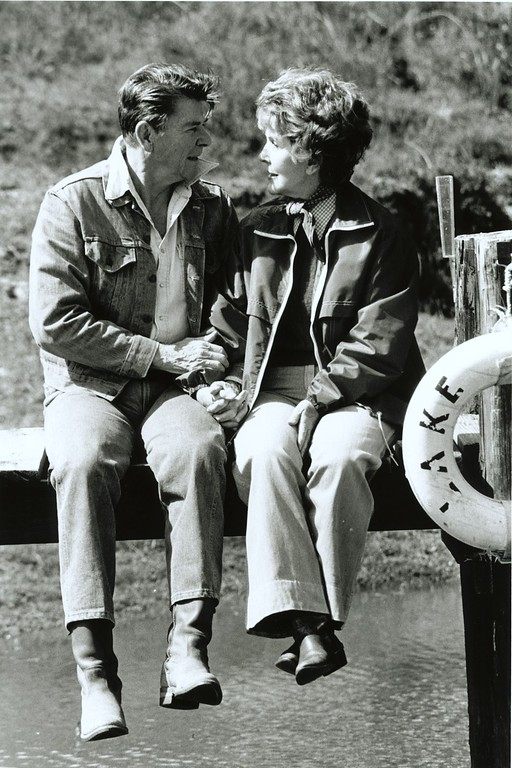. President and First Lady Nancy Reagan enjoy one another\'s company on the dock overlooking Lake Lucky at Rancho del Cielo, Santa Barbara, California, 3/4/82.  Photo Credit: The Ronald Reagan Presidential Library and Museum
