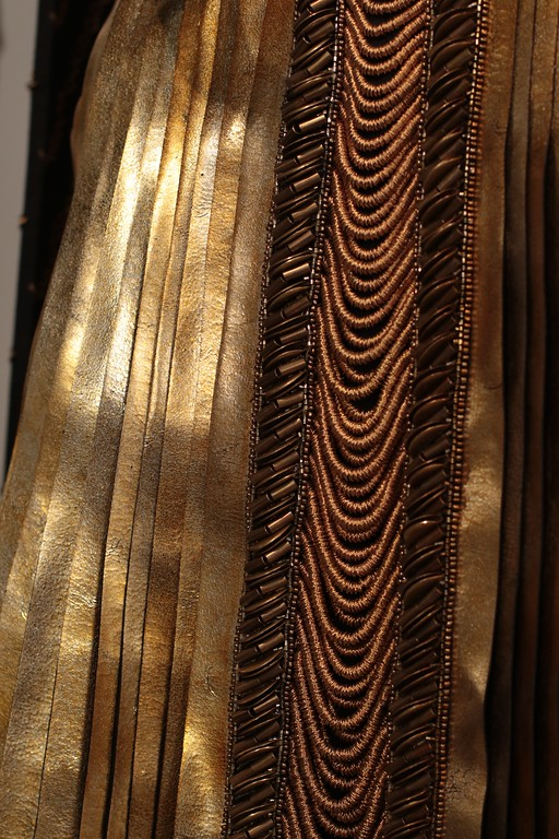 . Although not nominated for her work in �The Huntsman: Winter�s War,�� designer Colleen Atwood goes into intricate detail especially in this golden gown worn by actress Charlize Theron. The drapery in from the gown was designed to resemble a Venetian blind. (Courtesy of ABImages)