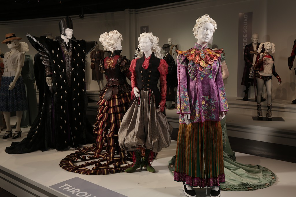 . One of the first displays to catch visitors� eyes when entering the second hall is the colorful and gorgeous work of designer Colleen Atwood in �Alice Through the Looking Glass.� (Courtesy of ABImages)