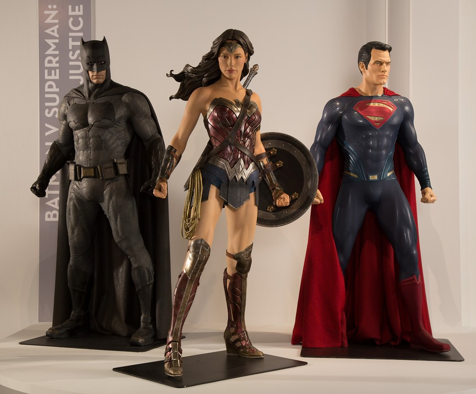 . Warner Bros. not only sent the costumes but its original mannequins from the film, �Batman vs. Superman: Dark Justice.�� (Courtesy of ABImages)