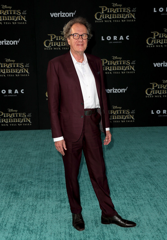 ". HOLLYWOOD, CA - MAY 18:  Actor Geoffrey Rush attends the premiere of Disney\'s ""Pirates Of The Caribbean: Dead Men Tell No Tales\"" at Dolby Theatre on May 18, 2017 in Hollywood, California.  (Photo by Frederick M. Brown/Getty Images)"