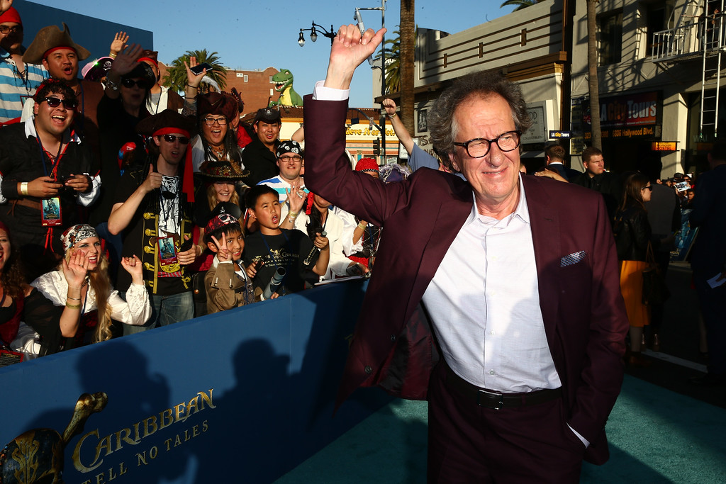 ". HOLLYWOOD, CA - MAY 18:  Actor Geoffrey Rush attends the premiere of Disney\'s ""Pirates Of The Caribbean: Dead Men Tell No Tales\"" at Dolby Theatre on May 18, 2017 in Hollywood, California.  (Photo by Rich Fury/Getty Images)"