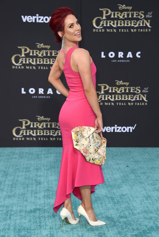 ". Sharna Burgess arrives at the Los Angeles premiere of ""Pirates of the Caribbean: Dead Men Tell No Tales\"" at the Dolby Theatre on Thursday, May 18, 2017. (Photo by Jordan Strauss/Invision/AP)"
