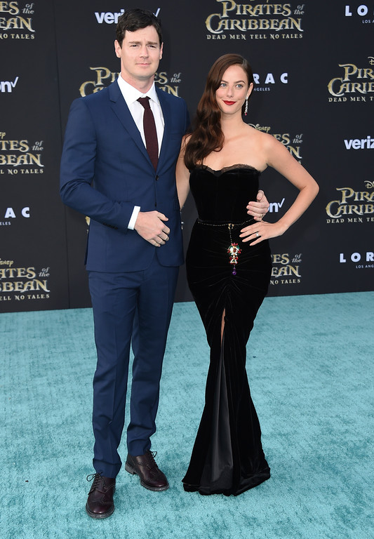 ". Benjamin Walker, left, and Kaya Scodelario arrive at the Los Angeles premiere of ""Pirates of the Caribbean: Dead Men Tell No Tales\"" at the Dolby Theatre on Thursday, May 18, 2017. (Photo by Jordan Strauss/Invision/AP)"