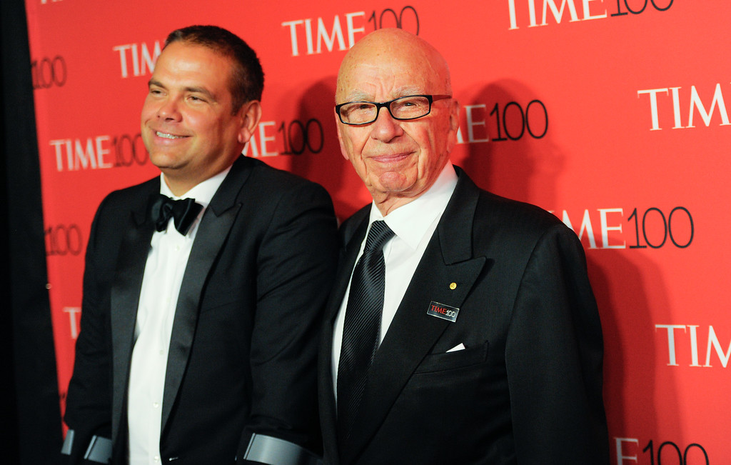 . Lachlan Murdoch, left, and Rupert Murdoch attend the TIME 100 Gala, celebrating the 100 most influential people in the world, at the Frederick P. Rose Hall, Time Warner Center on Tuesday, April 21, 2015, in New York. (Photo by Evan Agostini/Invision/AP)