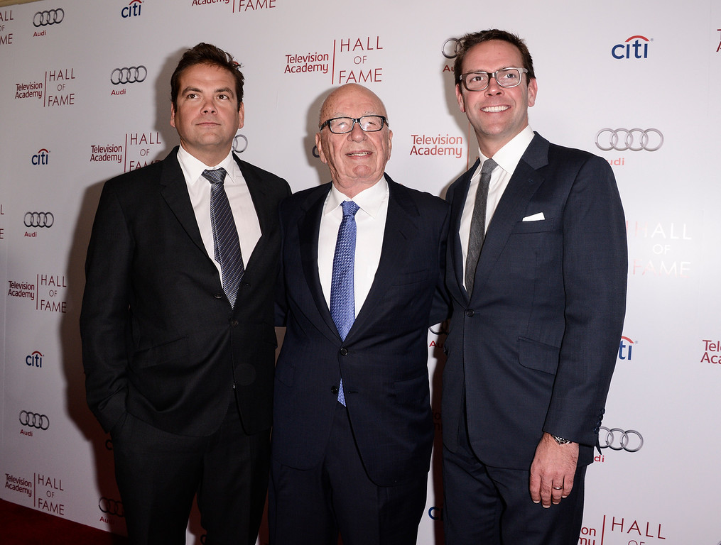 . From left to right, businessman Lachlan Murdoch, News Corp Executive Chairman and Hall of Fame inductee Rupert Murdoch, and News Corp Deputy COO James Murdoch attend the 2014 Television Academy Hall of Fame on Tuesday, March 11, 2014, in Beverly Hills, Calif. (Photo by Dan Steinberg/Invision/AP Images)