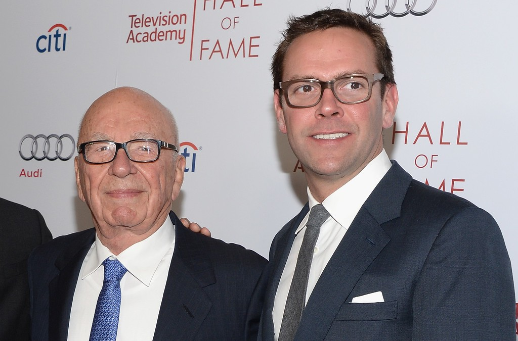 . Rupert Murdoch and James Murdoch attend The Television Academy\'s 23rd Hall Of Fame Induction Gala at Regent Beverly Wilshire Hotel on March 11, 2014 in Beverly Hills, California.  Rupert Murdoch is preparing to hand over the CEO job at Twenty-First Century Fox Inc. to his son, James, the company�s news channel Fox News reported Thursday, June 11, 2015. (Photo by Jason Kempin/Getty Images)
