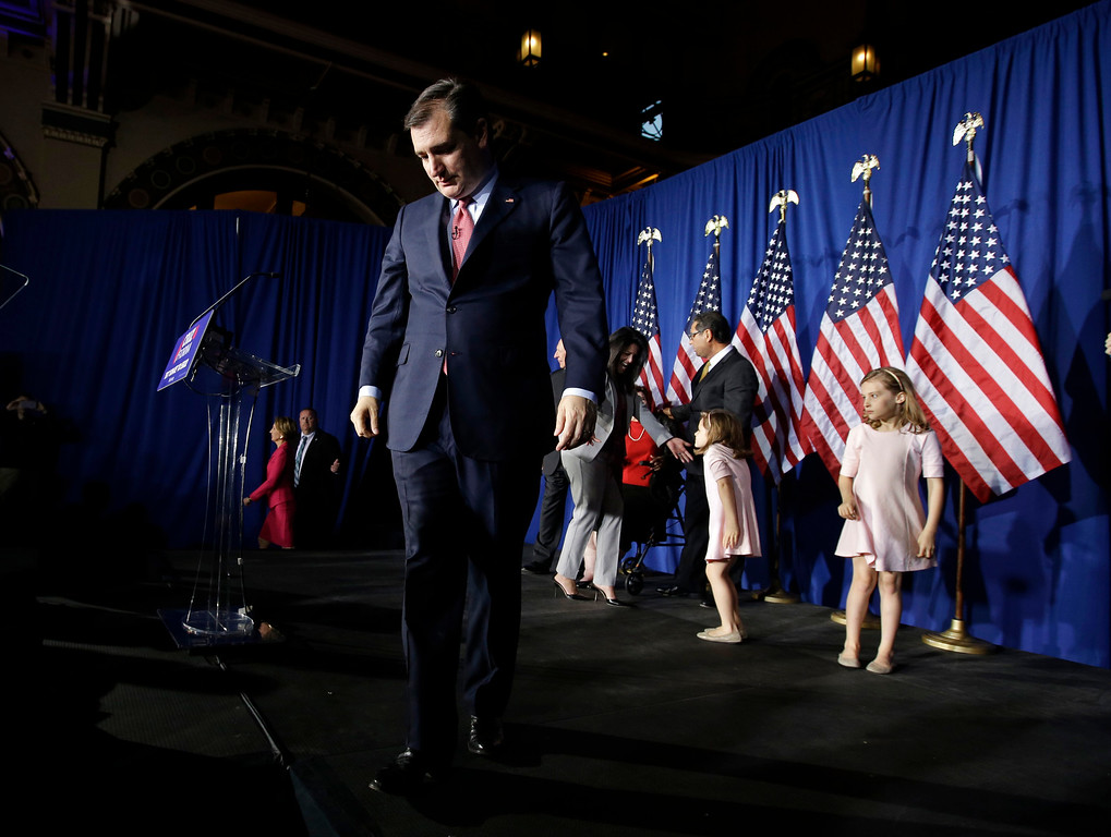 . Republican presidential candidate, Sen. Ted Cruz, R-Texas, walks off the stage following a primary night campaign event, Tuesday, May 3, 2016, in Indianapolis. (AP Photo/Darron Cummings)