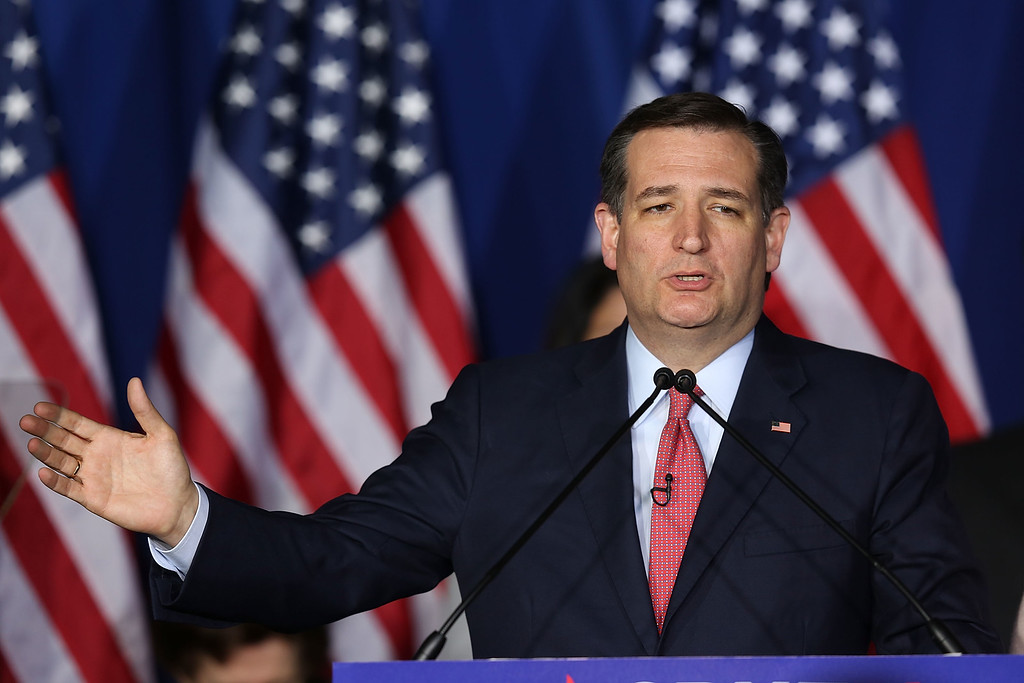 . INDIANAPOLIS, IN - MAY 03:  Republican presidential candidate, Sen. Ted Cruz (R-TX) speaks during an election night watch party at the Crowne Plaza Downtown Union Station on May 3, 2016 in Indianapolis, Indiana. Cruz lost the Indiana primary to Republican rival Donald Trump.  (Photo by Joe Raedle/Getty Images)