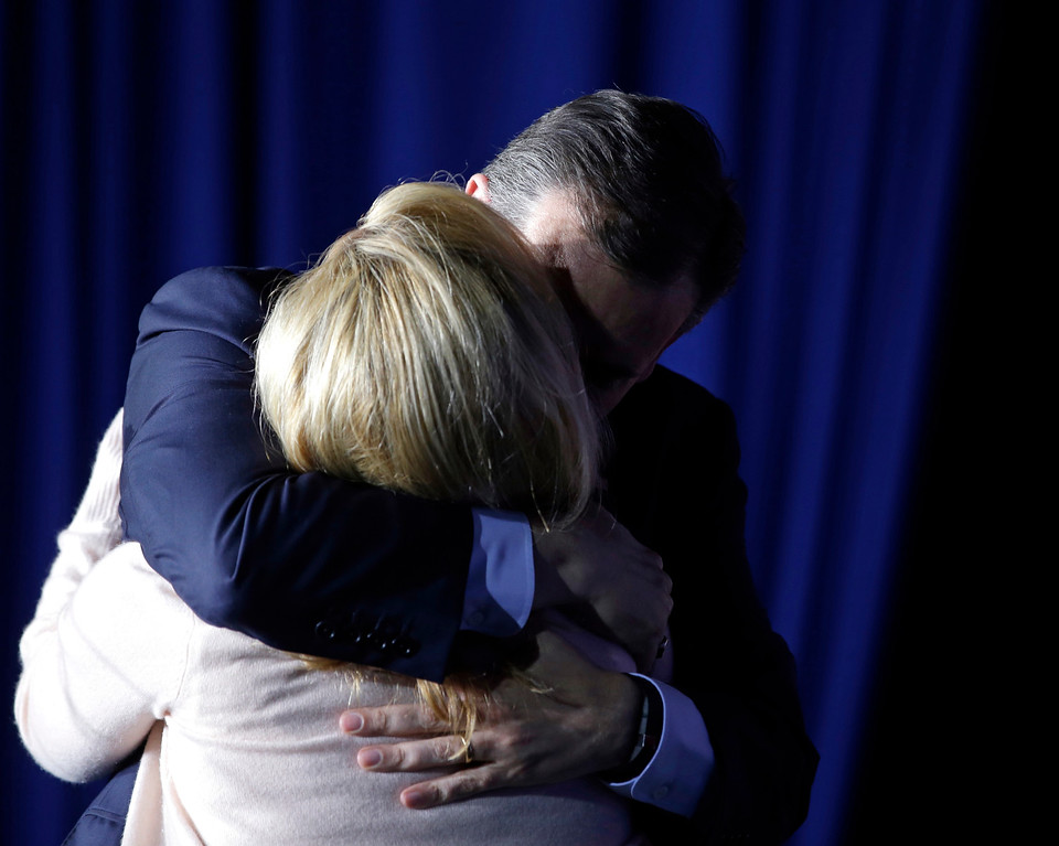 . Republican presidential candidate, Sen. Ted Cruz, R-Texas, hugs his wife, Heidi, following a primary night campaign event, Tuesday, May 3, 2016, in Indianapolis. (AP Photo/Darron Cummings)