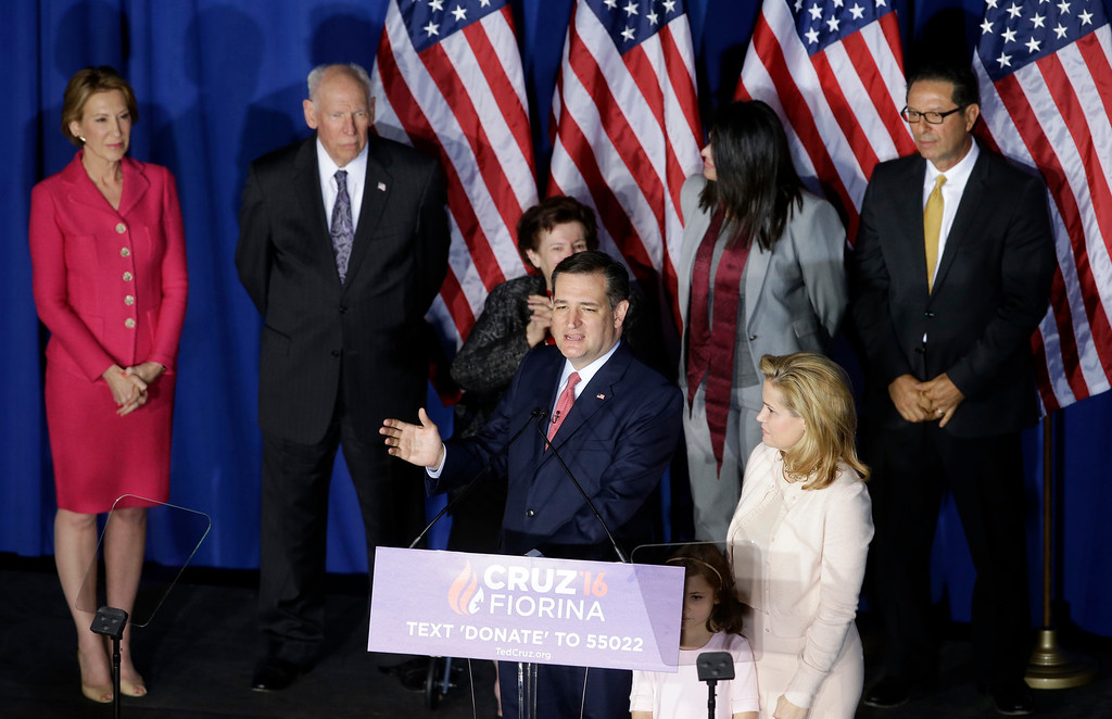 . Republican presidential candidate, Sen. Ted Cruz, R-Texas, speaks during a primary night campaign event, Tuesday, May 3, 2016, in Indianapolis. (AP Photo/Darron Cummings)