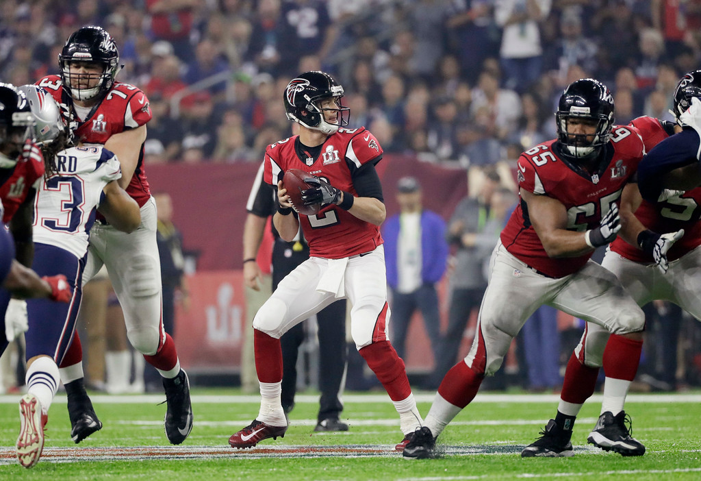 . Atlanta Falcons\' Matt Ryan prepares to pass against the New England Patriots during the second half of the NFL Super Bowl 51 football game Sunday, Feb. 5, 2017, in Houston. (AP Photo/Mark Humphrey)
