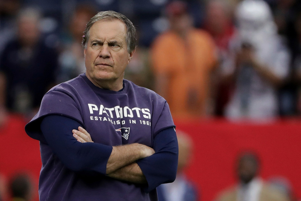 . New England Patriots head coach Bill Belichick, looks from the sidelines, before the NFL Super Bowl 51 football game against the Atlanta Falcons, Sunday, Feb. 5, 2017, in Houston. (AP Photo/Matt Slocum)