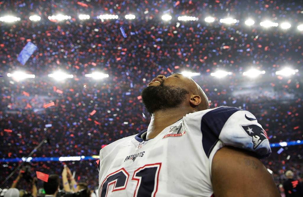 . New England Patriots\' Marcus Cannon celebrates after the NFL Super Bowl 51 football game against the Atlanta Falcons Sunday, Feb. 5, 2017, in Houston. (AP Photo/Jae C. Hong)