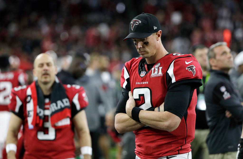 . Atlanta Falcons\' Matt Ryan stands on the sideline during the first half of the NFL Super Bowl 51 football game against the New England Patriots, Sunday, Feb. 5, 2017, in Houston. (AP Photo/Mark Humphrey)