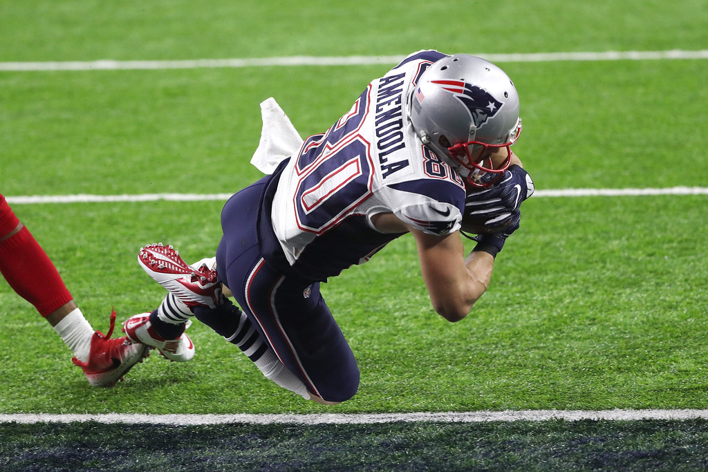 . HOUSTON, TX - FEBRUARY 05: Danny Amendola #80 of the New England Patriots scores a touchdown against the Atlanta Falcons during the fourth quarter during Super Bowl 51 at NRG Stadium on February 5, 2017 in Houston, Texas.  (Photo by Patrick Smith/Getty Images)