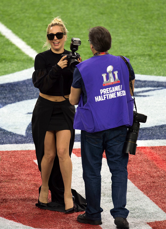 . Singer Lady Gaga walks on the field before Super Bowl LI at Houston NRG Stadium in Houston, Texas, February 5, 2017.  (VALERIE MACON/AFP/Getty Images)