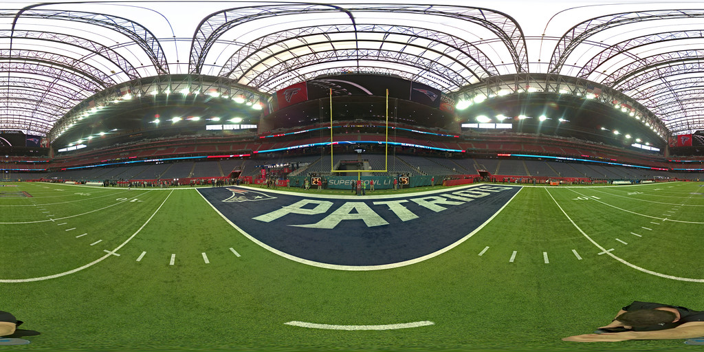. HOUSTON, TX - FEBRUARY 05:  (EDITOR\'S NOTE: Image was created as an Equirectangular Panorama. Import image into a panoramic player to create an interactive 360 degree view.) A detailed view of the field prior to Super Bowl 51 between the New England Patriots and the Atlanta Falcons at NRG Stadium on February 5, 2017 in Houston, Texas.  (Photo by Michael Heiman/Getty Images)