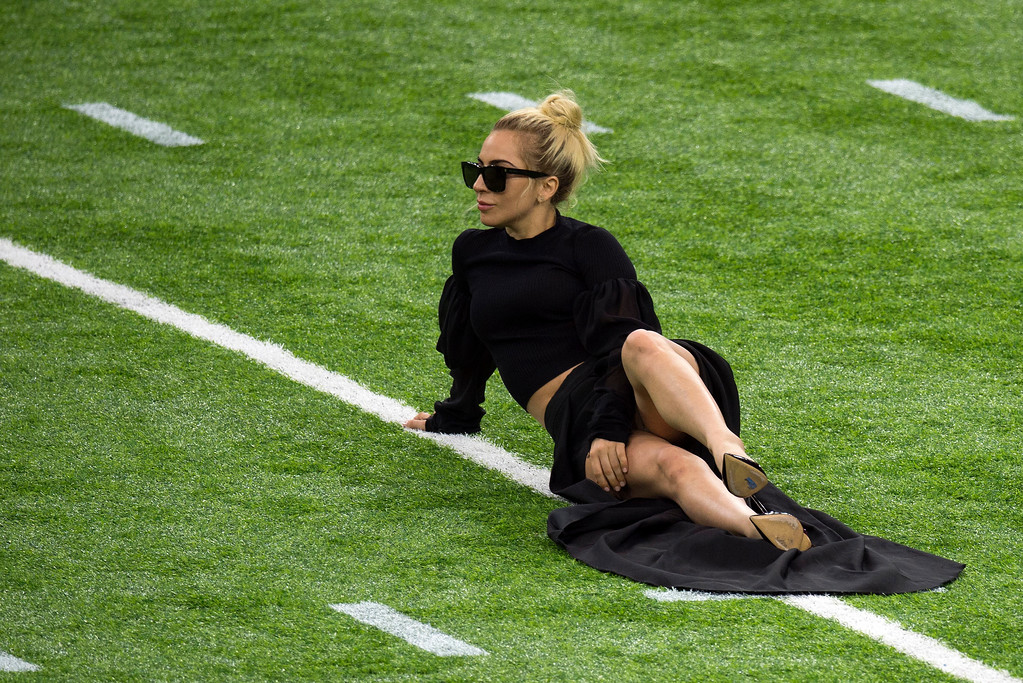 . Singer Lady Gaga poses on the field at the Super Bowl LI before the start of the game at Houston NRG Stadium in Houston, Texas, on February 5, 2017.  (VALERIE MACON/AFP/Getty Images)