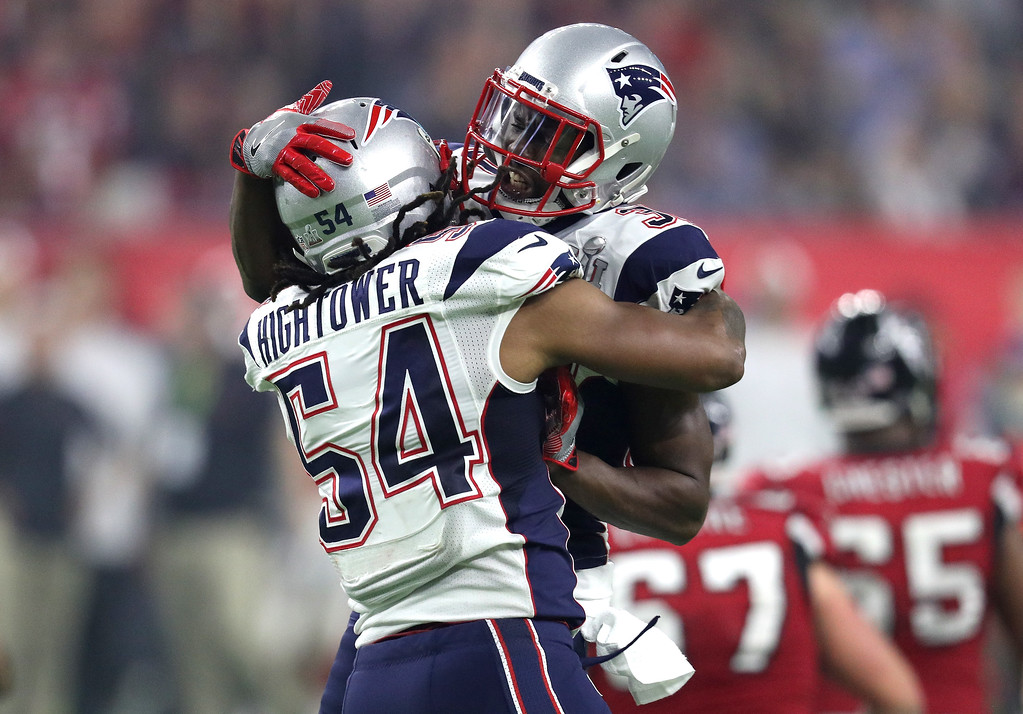 . HOUSTON, TX - FEBRUARY 05: Dont\'a Hightower #54 of the New England Patriots celebrates with Devin McCourty #32 after forcing a fumble from Matt Ryan #2 of the Atlanta Falcons during the fourth quarter of Super Bowl 51 at NRG Stadium on February 5, 2017 in Houston, Texas.  (Photo by Patrick Smith/Getty Images)