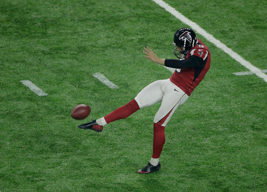 . Atlanta Falcons\' Matt Bosher punts during the second half of the NFL Super Bowl 51 football game against the New England Patriots Sunday, Feb. 5, 2017, in Houston. (AP Photo/Charlie Riedel)