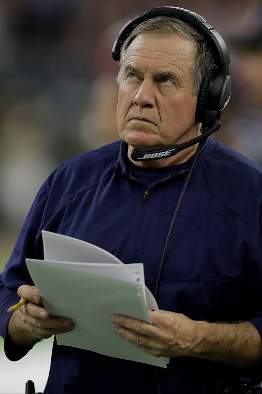. New England Patriots head coach Bill Belichick looks up during the first half of the NFL Super Bowl 51 football game against the Atlanta Falcons, Sunday, Feb. 5, 2017, in Houston. (AP Photo/Darron Cummings)