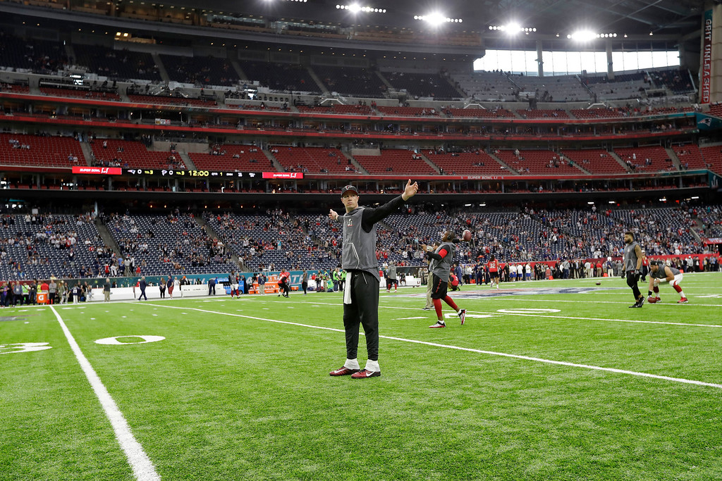 . Atlanta Falcons\' Matt Ryan warms up before the NFL Super Bowl 51 football game against the New England Patriots, Sunday, Feb. 5, 2017, in Houston. (AP Photo/David J. Phillip)