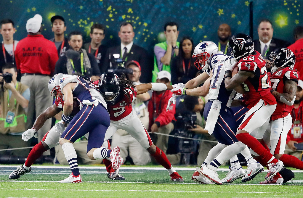 . HOUSTON, TX - FEBRUARY 05:  Danny Amendola #80 of the New England Patriots scores a two point conversion against the Atlanta Falcons in the fourth quarter during Super Bowl 51 at NRG Stadium on February 5, 2017 in Houston, Texas.  (Photo by Gregory Shamus/Getty Images)