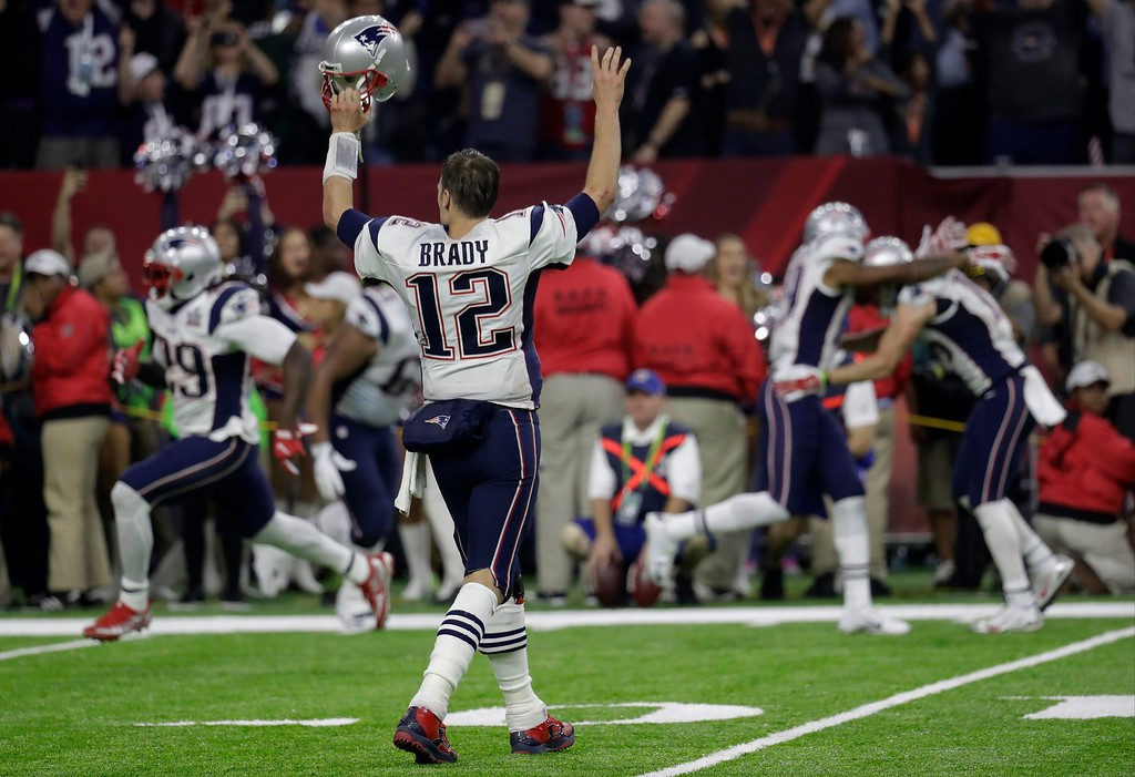 . New England Patriots\' Tom Brady reacts after winning the NFL Super Bowl 51 football game against the Atlanta Falcons in overtime Sunday, Feb. 5, 2017, in Houston. The Patriots won 34-28. (AP Photo/Eric Gay)