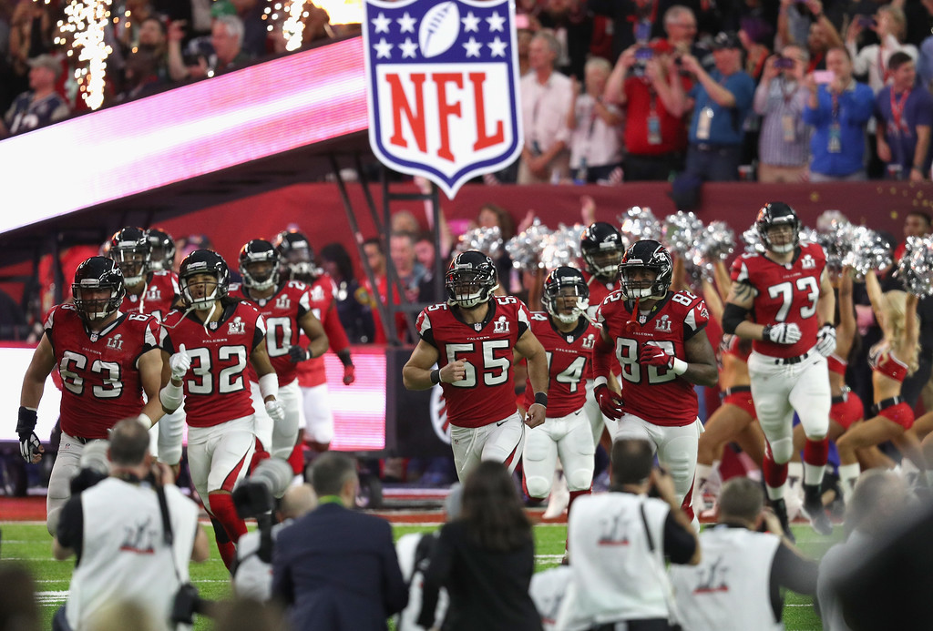 . HOUSTON, TX - FEBRUARY 05:  The Atlanta Falcons take the field prior to Super Bowl 51 against the New England Patriots at NRG Stadium on February 5, 2017 in Houston, Texas.  (Photo by Patrick Smith/Getty Images)