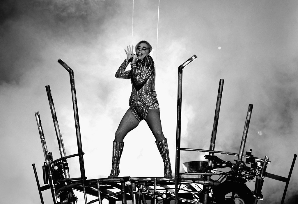 . HOUSTON, TX - FEBRUARY 05:  (EDITOR NOTE: Image has been converted to black and white.) Musician Lady Gaga performs onstage during the Pepsi Zero Sugar Super Bowl LI Halftime Show at NRG Stadium on February 5, 2017 in Houston, Texas.  (Photo by Larry Busacca/Getty Images)