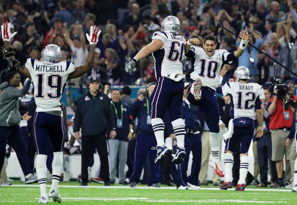 . HOUSTON, TX - FEBRUARY 05:  The New England Patriots react at the end of the game during Super Bowl 51 at NRG Stadium on February 5, 2017 in Houston, Texas.  (Photo by Mike Ehrmann/Getty Images)