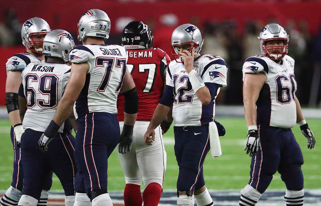 . HOUSTON, TX - FEBRUARY 05:  Tom Brady #12 of the New England Patriots looks on during the second quarter against the Atlanta Falcons  Super Bowl 51 at NRG Stadium on February 5, 2017 in Houston, Texas.  (Photo by Elsa/Getty Images)