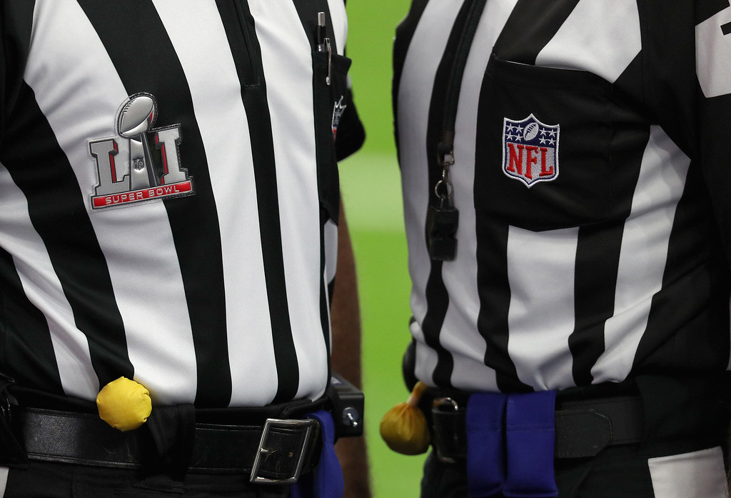 . HOUSTON, TX - FEBRUARY 05: Game officials look on prior to Super Bowl 51 between the Atlanta Falcons and the New England Patriots at NRG Stadium on February 5, 2017 in Houston, Texas.  (Photo by Patrick Smith/Getty Images)