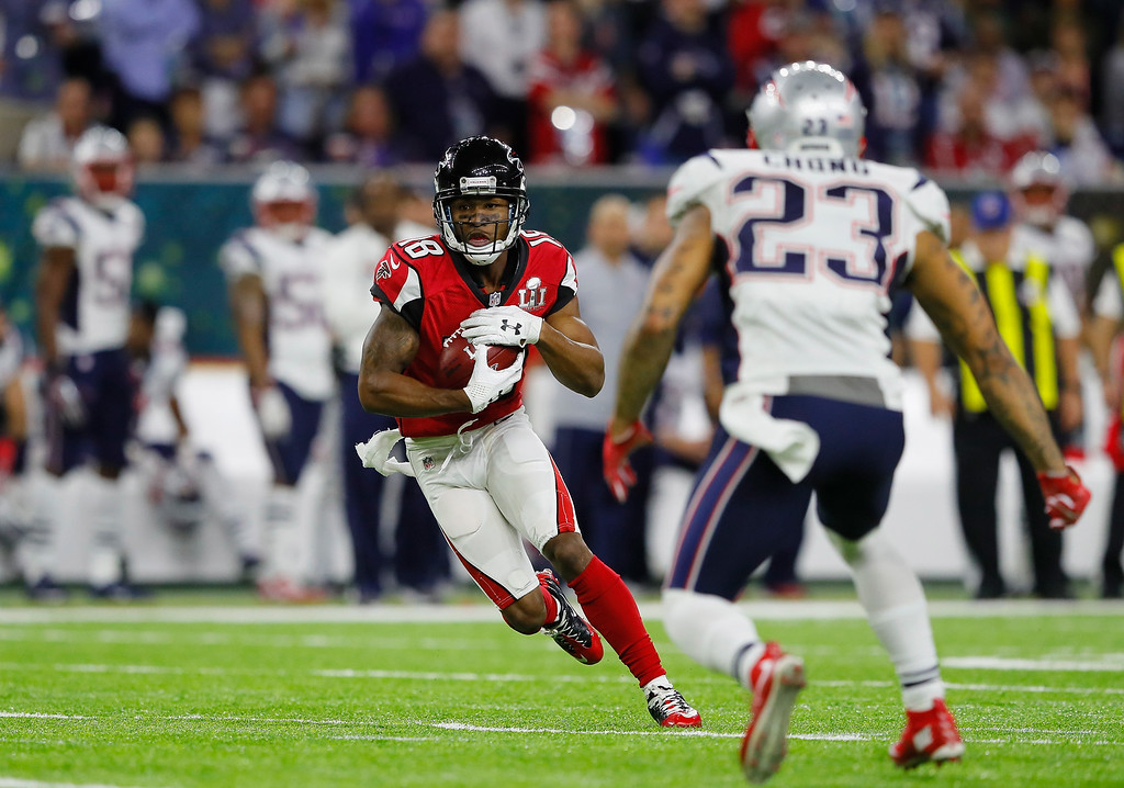 . HOUSTON, TX - FEBRUARY 05: Aldrick Robinson #19 of the Atlanta Falcons runs after a catch against Patrick Chung #23 of the New England Patriots in the second quarter during Super Bowl 51 at NRG Stadium on February 5, 2017 in Houston, Texas.  (Photo by Kevin C. Cox/Getty Images)