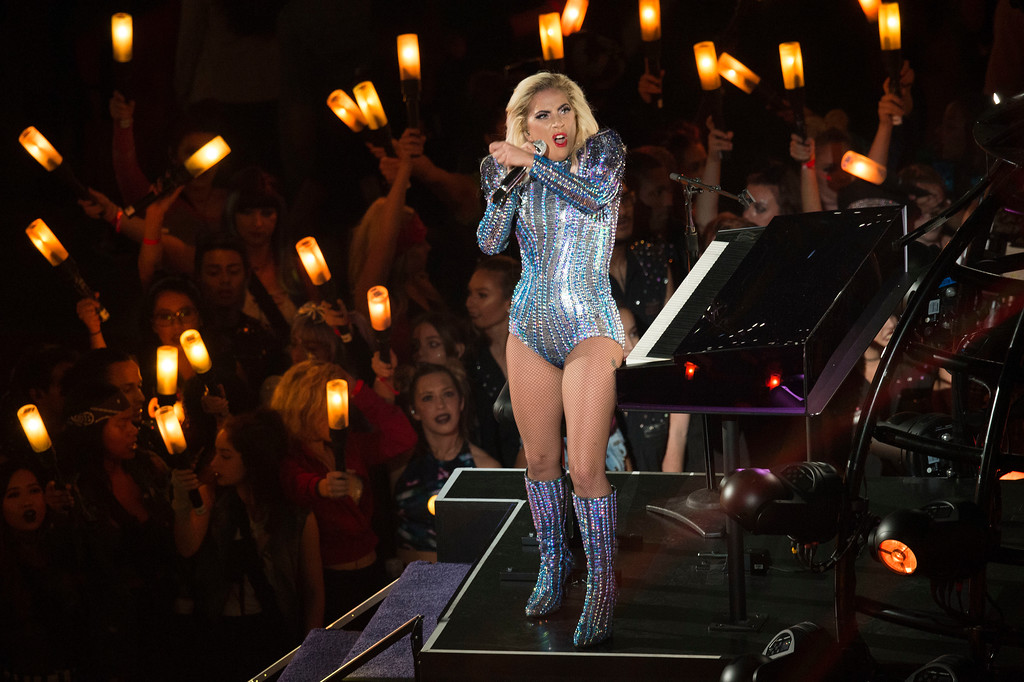 . Singer Lady Gaga performs during the Pepsi Super Bowl LI Halftime Show at Houston NRG Stadium in Houston, Texas, February 5, 2017.  (VALERIE MACON/AFP/Getty Images)