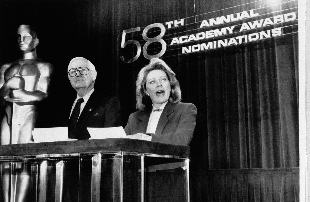 . Actress Patty Duke, President of the Screen Actors Guild, and Robert  Wise, President of the Academy of Motion Picture Arts and Sciences, announce nominations for the 58th annual Academy Awards in Beverly Hills, Calif., on Wednesday, Feb. 5, 1986.   (AP Photo/Michael Tweed)