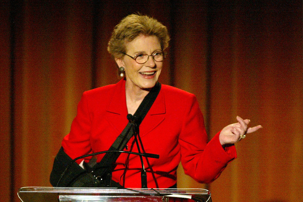 . BEVERLY HILLS - MAY 16:  Actress Patty Duke speaks at the Seventh Annual Leadership Awards at the Regent Beverly Wilshire Hotel on May 16, 2003 in Beverly Hills, California.  The event was sponsored by the Didi Hirsch Community Mental Health Center.  (Photo by Frederick M. Brown/Getty Images)
