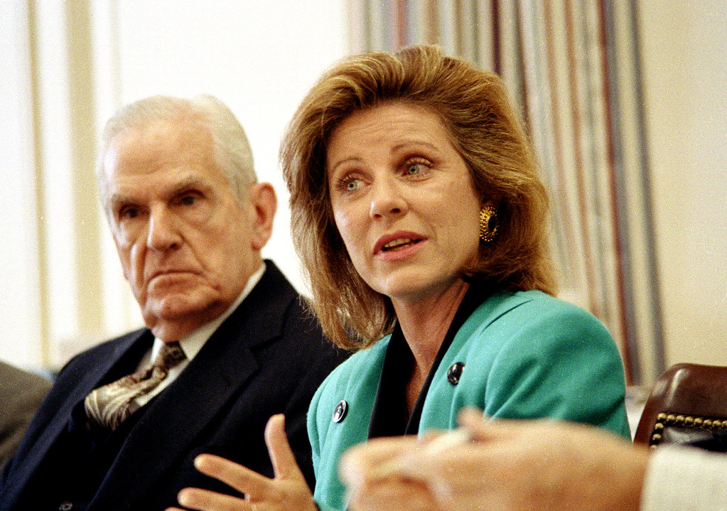 . Actress Patty Duke appears as a witness before a House Appropriations Subcomittee holding hearings on funding for mental health programs on Capitol Hill in Washington, D.C., April 27, 1989.  At left is chairman of the panel Rep. William Natcher of Kentucky.  (AP Photo/Dennis Cook)