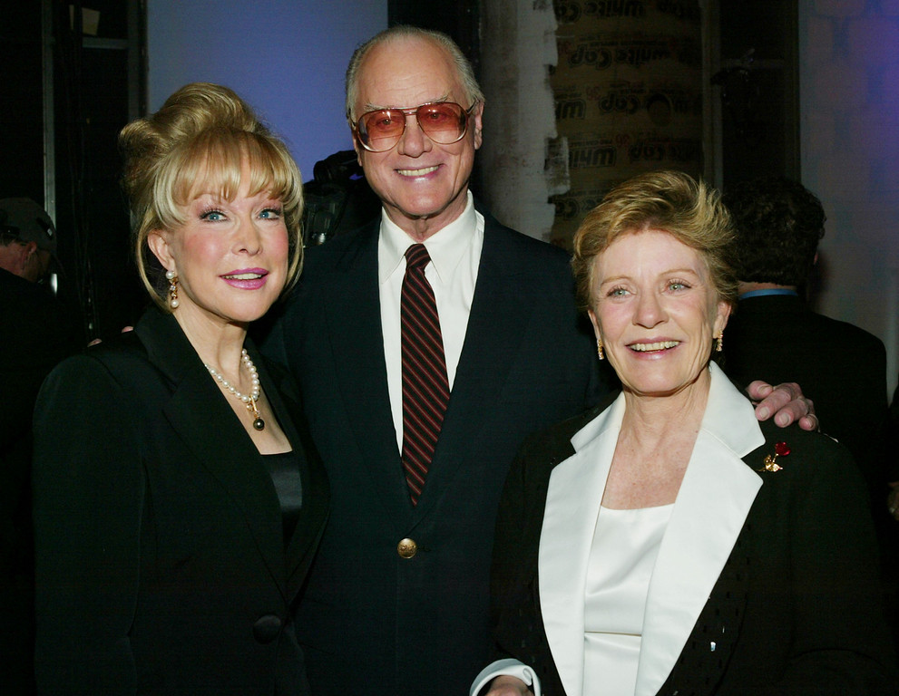 . HOLLYWOOD, CA - MARCH 7:  Actors Barbara Eden (L), Larry Hagman and Patty Duke on stage at the 2nd Annual TV Land Awards held at The Hollywood Palladium, March 7, 2004 in Hollywood, California.  (Photo by Frank Micelotta/Getty Images)