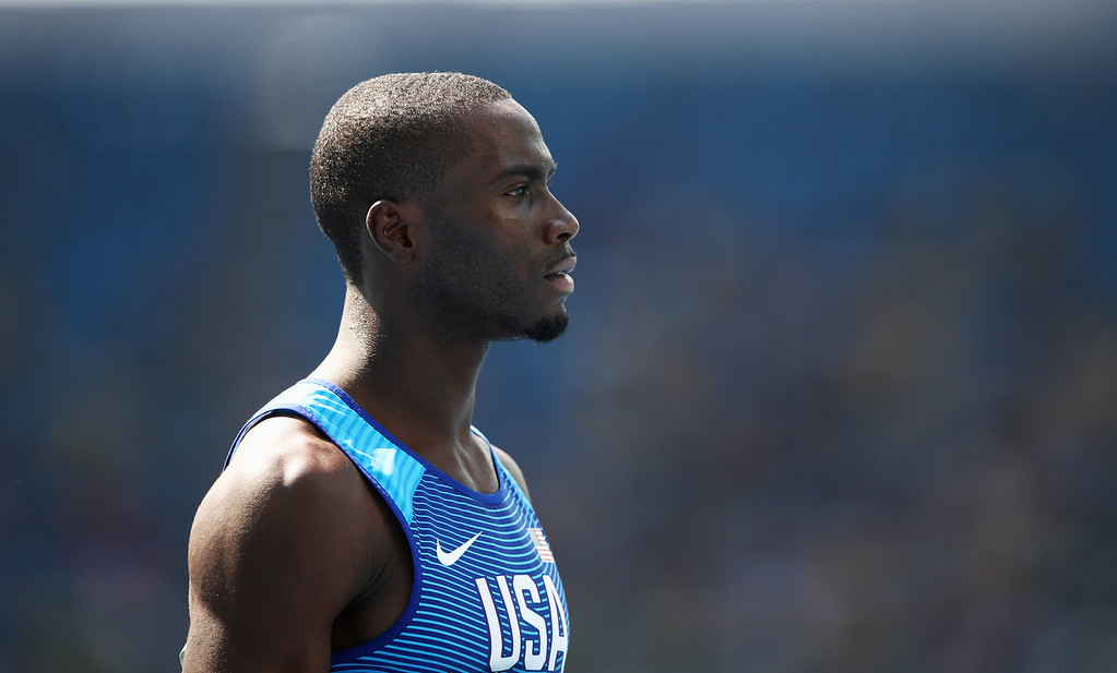 . RIO DE JANEIRO, BRAZIL - AUGUST 18:  Kerron Clement of the United States reacts after placing first in the Men\'s 400m Hurdles Final on Day 13 of the Rio 2016 Olympic Games at the Olympic Stadium on August 18, 2016 in Rio de Janeiro, Brazil.  (Photo by Cameron Spencer/Getty Images)