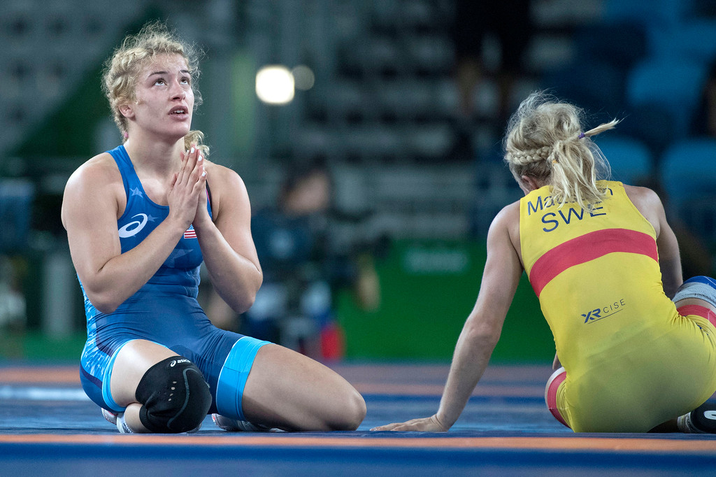 . United States\' Helen Louise Maroulis says a little prayer after defeating Sofia Magdalena Mattsson in the semi-final during the women\'s wrestling freestyle 53-kg competition at the 2016 Summer Olympics in Rio de Janeiro, Brazil, Thursday, Aug. 18, 2016.(Michael Goulding, Orange County Register)