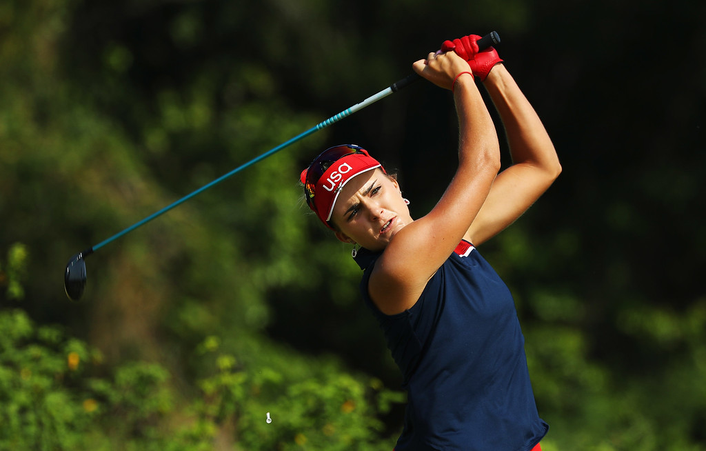 . RIO DE JANEIRO, BRAZIL - AUGUST 18:  Lexi Thompson of the United States hits her tee shot on the 11th hole during the second round of the Women\'s Individual Stroke Play golf on Day 13 of the Rio 2016 Olympic Games at Olympic Golf Course on August 18, 2016 in Rio de Janeiro, Brazil.  (Photo by Scott Halleran/Getty Images)