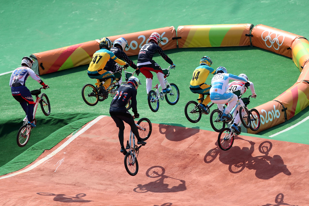 . RIO DE JANEIRO, BRAZIL - AUGUST 18:  Connor Fields of the United States, Anthony Dean of Australia, Corben Sharrah of the United States, Bodi Turner of Australia competes in the Cycling BMX - Men\'s Quarterfinals on Day 13 of the 2016 Rio Olympic Games at Olympic BMX Centre on August 18, 2016 in Rio de Janeiro, Brazil.  (Photo by Tom Pennington/Getty Images)