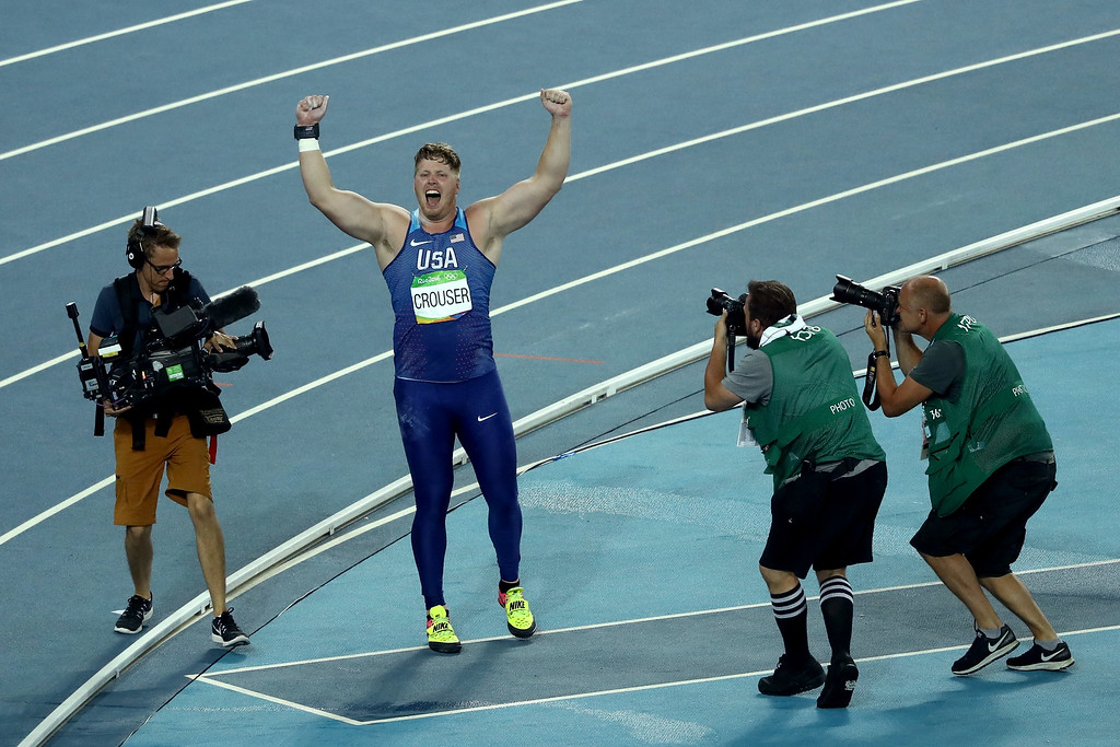 . RIO DE JANEIRO, BRAZIL - AUGUST 18:  Ryan Crouser of the United States celebrates during the Men\'s Shot Put Final on Day 13 of the Rio 2016 Olympic Games at the Olympic Stadium on August 18, 2016 in Rio de Janeiro, Brazil.  (Photo by Lars Baron/Getty Images)