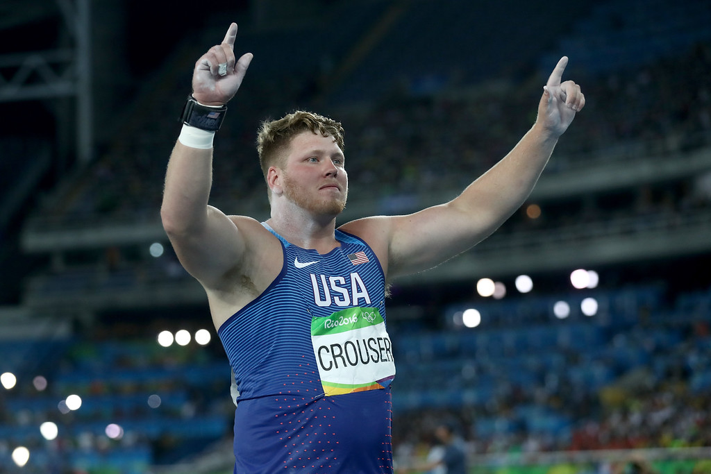 . RIO DE JANEIRO, BRAZIL - AUGUST 18:  Ryan Crouser of the United States celebrates during the Men\'s Shot Put Final on Day 13 of the Rio 2016 Olympic Games at the Olympic Stadium on August 18, 2016 in Rio de Janeiro, Brazil.  (Photo by Alexander Hassenstein/Getty Images)