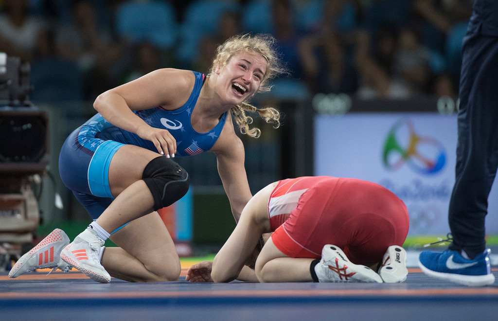 . United States\' Helen Louise Maroulis of Huntington Beach defeated Japan\'s Soari Yoshida to win the first gold medal ever  for USA women\'s wrestling during the women\'s wrestling freestyle 53-kg competition at the 2016 Summer Olympics in Rio de Janeiro, Brazil, Thursday, Aug. 18, 2016.(Michael Goulding, Orange County Register)