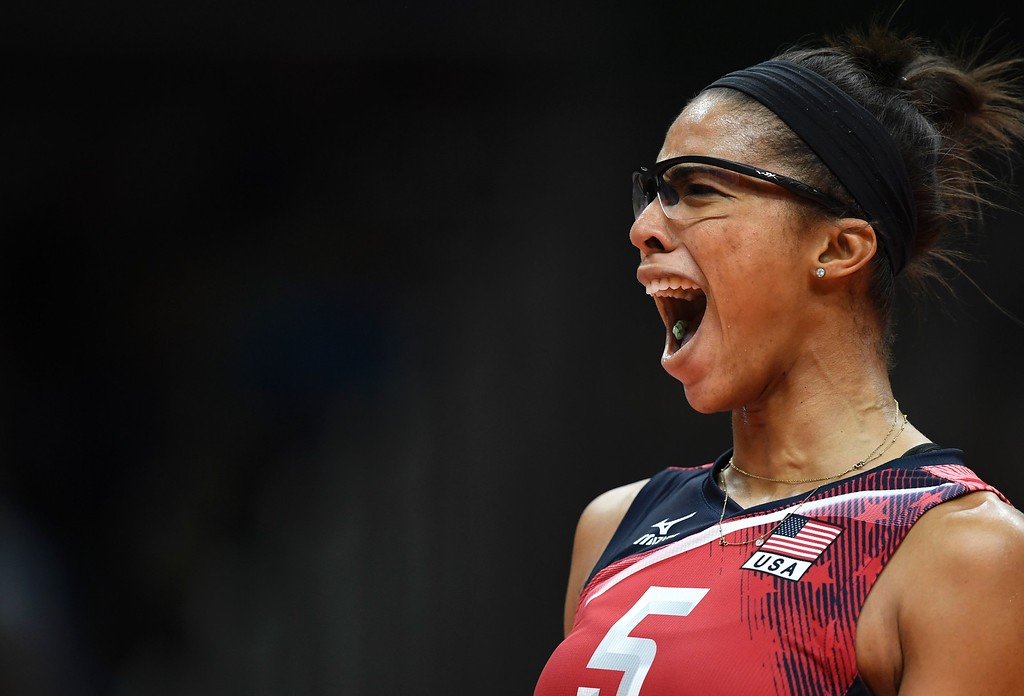 . USA\'s Rachael Adams reacts during the women\'s semi-final volleyball match between Serbia and USA at the Maracanazinho stadium in Rio de Janeiro on August 18, 2016, during the Rio 2016 Olympic Games. (ERIC FEFERBERG/AFP/Getty Images)